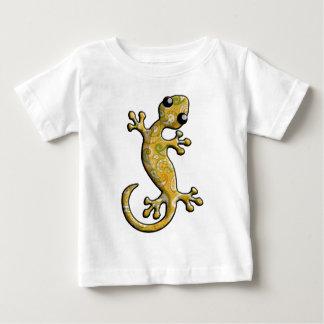 黄色緑のペイズリー模様のな登山のヤモリのトカゲ ベビーTシャツ