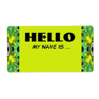 黄色緑の名前入りの記章 ラベル