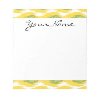 黄色緑の抽象芸術の種族のイカットのダイヤモンドパターン ノートパッド