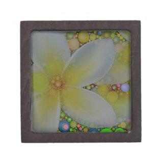 黄色緑の抽象芸術の花 ギフトボックス
