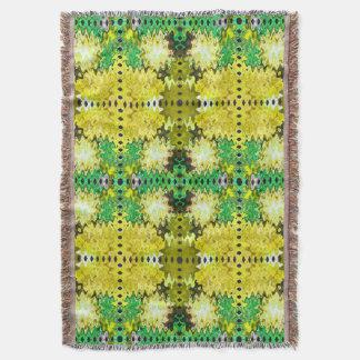 黄色緑の抽象芸術 スローブランケット