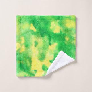 黄色緑の水彩画の洗浄布 ウォッシュタオル