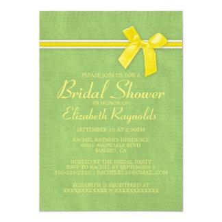 黄色緑の素朴なバーラップのブライダルシャワーの招待 カード