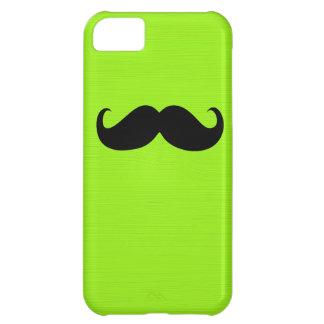 黄色緑の背景のおもしろいで黒い髭 iPhone5Cケース