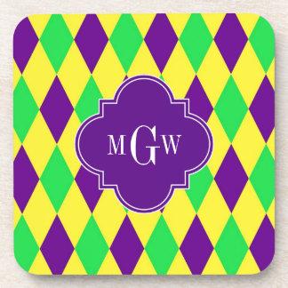 黄色緑の道化師のPurp紫色のQuat 3のモノグラム コースター