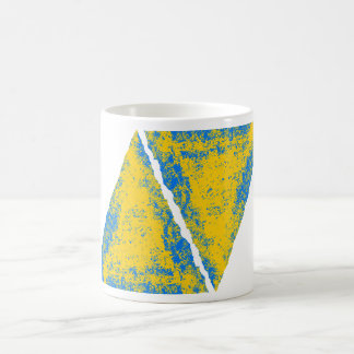 黄色青い コーヒーマグカップ