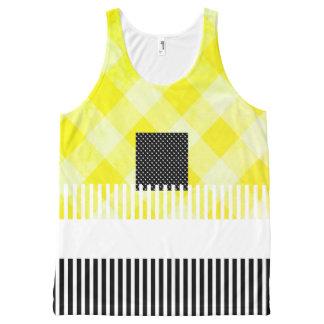 黄色黒夏おもしろい女性タンクトップ オールオーバープリントタンクトップ