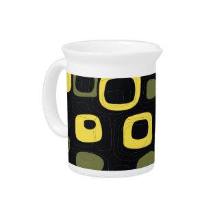 黄色、ライム、黒いレトロの抽象美術 ピッチャー