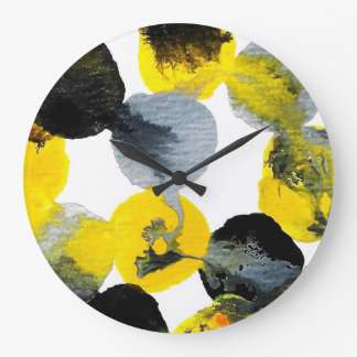 黄色、灰色および黒いIntertactions ラージ壁時計
