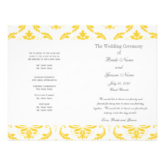 黄色|灰色|ヴィンテージ|ダマスク織|結婚|プログラム フルカラーチラシ
