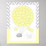 黄色、白い灰色象のベビーシャワー-ゲスト ポスター