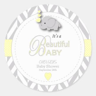 黄色、白い灰色象のベビーシャワー ラウンドシール