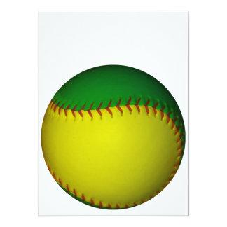 黄色|緑|野球 14 X 19.1 インビテーションカード