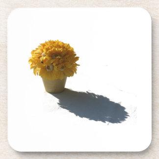 黄色|花|白い|バケツ|影|切り出し 飲み物コースター
