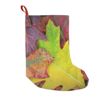 黄色、赤いの紅葉、オレンジおよび紫色 スモールクリスマスストッキング