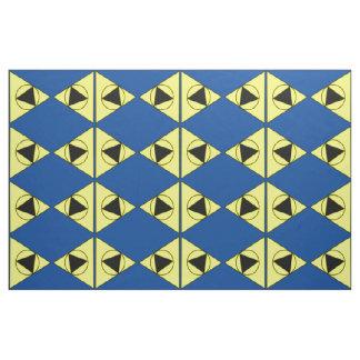 黄色、黒い三角形および円青いback/gr ファブリック