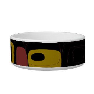 黄色、黒い、オレンジレトロの抽象美術 猫用ご飯皿