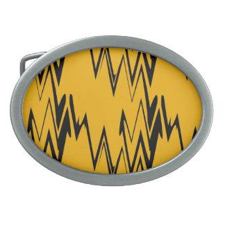 黄色、黒いZigzapのレトロの抽象芸術のアールデコ 卵形バックル