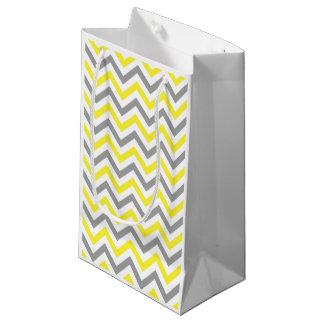 黄色、Dkの灰色白く大きいシェブロンのジグザグパターン スモールペーパーバッグ
