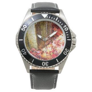 黄金色の紅葉の写真の腕時計 ウォッチ