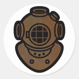黄銅 潜水 ヘルメット 丸形シールステッカー