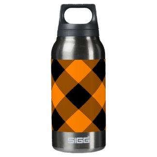 黒いおよびオレンジギンガムパターン 断熱ウォーターボトル