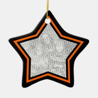 黒いおよびオレンジ星フレームのオーナメント セラミックオーナメント