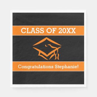 黒いおよびオレンジMortarboardの卒業パーティー スタンダードランチョンナプキン