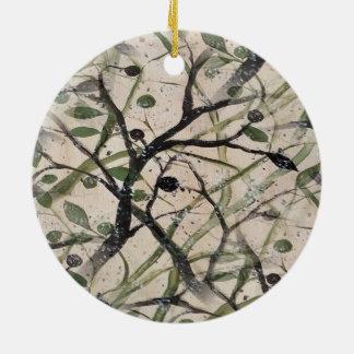 黒いおよびグリーンオリーブの木のデジタル抽象芸術 セラミックオーナメント