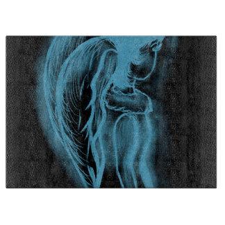 黒いおよび淡いブルーの逆にされた横の天使 カッティングボード