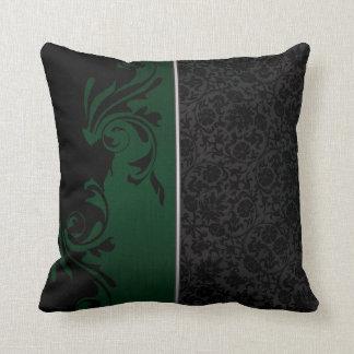 黒いおよび深緑色のエレガントな花柄 クッション