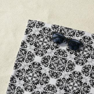 黒いおよび灰色のエレガントなダマスク織 ビーチタオル