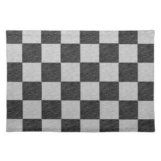 黒いおよび灰色のチェック模様のランチョンマット ランチョンマット