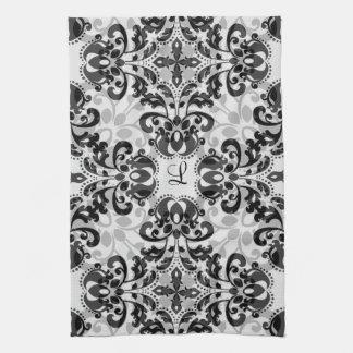 黒いおよび灰色のビクトリアンなダマスク織の装飾 キッチンタオル
