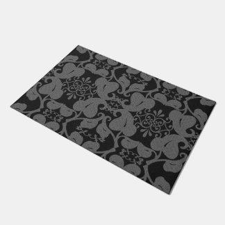 黒いおよび灰色のモダンでエレガントで華美な葉パターン ドアマット