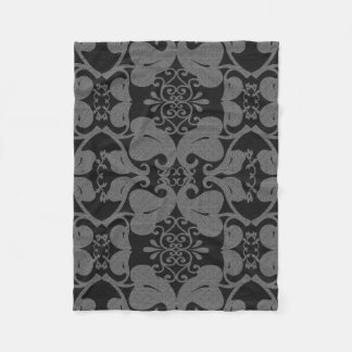 黒いおよび灰色のモダンでエレガントで華美な葉パターン フリースブランケット