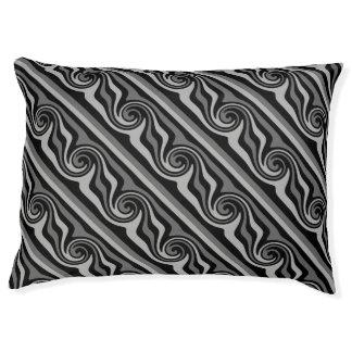 黒いおよび灰色のモダンの抽象芸術の渦巻の対角線 ペットベッド