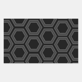 黒いおよび灰色の六角形のボルトデザイン 長方形シール