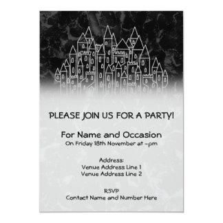 黒いおよび灰色の気味悪い城のデザイン カード