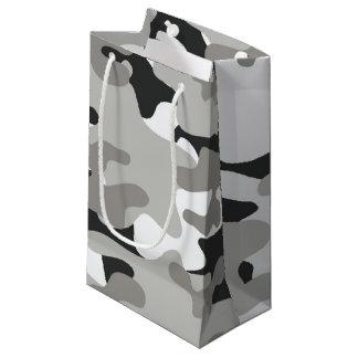 黒いおよび灰色の迷彩柄のデザイン スモールペーパーバッグ