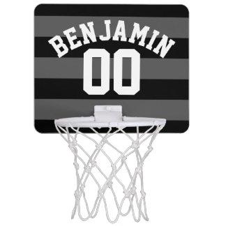 黒いおよび灰色の銀製のラグビーのストライプな一流数 ミニバスケットボールネット
