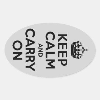 黒いおよび灰色のKeep Calm and Carry On 楕円形シール