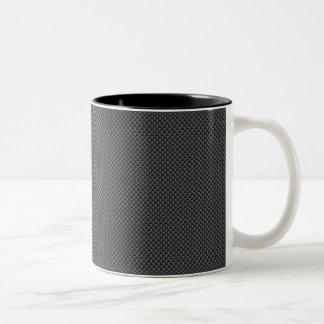 黒いおよび灰色カーボン繊維ポリマー ツートーンマグカップ