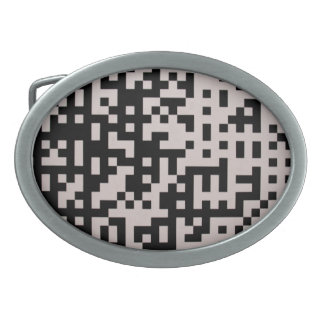 黒いおよび灰色8bitピクセルベルトの留め金 卵形バックル