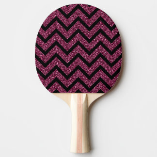 黒いおよび紫色のグリッターのシェブロンのストライプなパターン 卓球ラケット