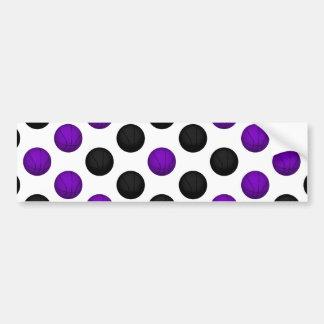 黒いおよび紫色のバスケットボールパターン バンパーステッカー