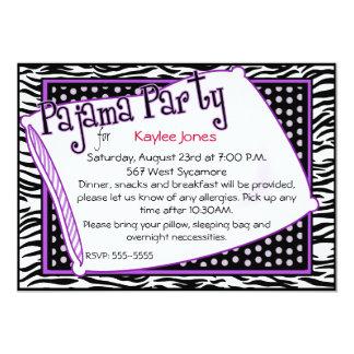 黒いおよび紫色のパジャマ・パーティー カード