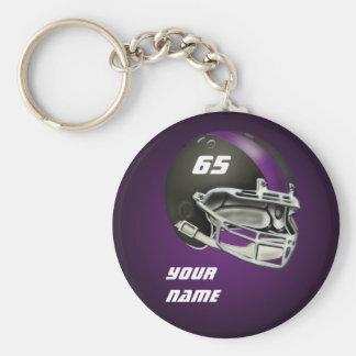 黒いおよび紫色のフットボール用ヘルメット ベーシック丸型缶キーホルダー