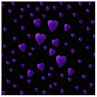 黒いおよび紫色の愛ハートパターン 写真彫刻キーホルダー