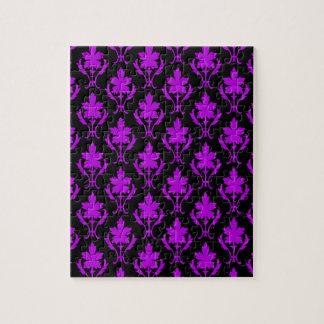 黒いおよび紫色の華美な壁紙パターン ジグソーパズル